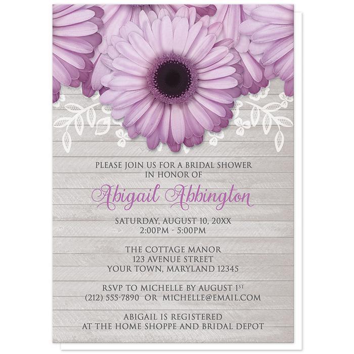 Rustic Purple Daisy Gray Wood Bridal Shower Invitations