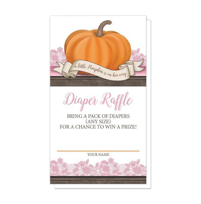 Pumpkin Orange Pink Rustic Wood Diaper Raffle Cards