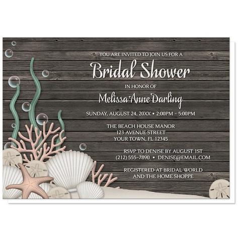 Bridal Shower Invitations - Rustic Beach Seashells and Wood