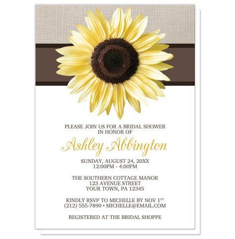Bridal Shower Invitations - Rustic Sunflower and Mocha Linen