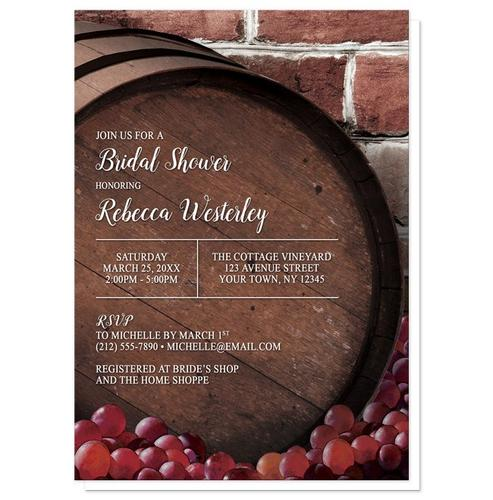 Bridal Shower Invitations - Rustic Wine Barrel Vineyard
