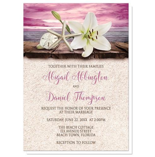 Wedding Invitations - Lily Seashells Sand Magenta Beach