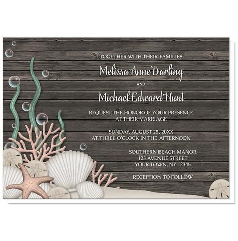 Wedding Invitations - Rustic Beach Seashells and Wood