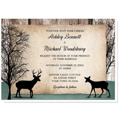 Wedding Invitations - Rustic Deer Woodsy