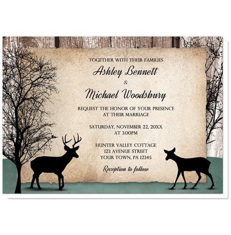Wedding Invitations - Rustic Deer Woodsy