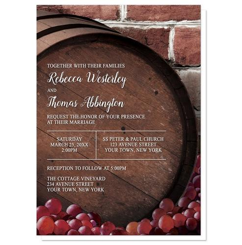 Wedding Invitations - Rustic Wine Barrel Vineyard