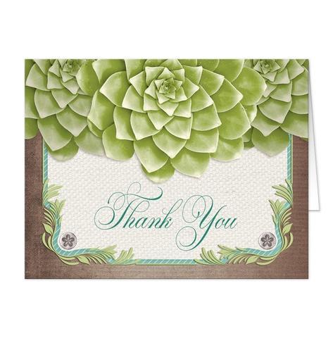 Thank You Cards - Rustic Succulent Garden