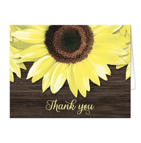 Thank You Cards - Rustic Sunflower and Wood