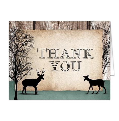 Thank You Cards - Rustic Woodsy Deer