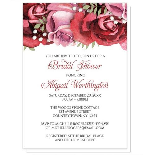 Bridal Shower Invitations - Burgundy Red Pink Rose