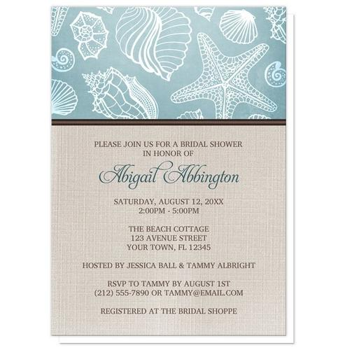 Bridal Shower Invitations - Rustic Beach Seashells Linen