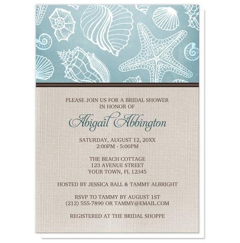 Bridal Shower Invitations - Rustic Beach Seashells Linen