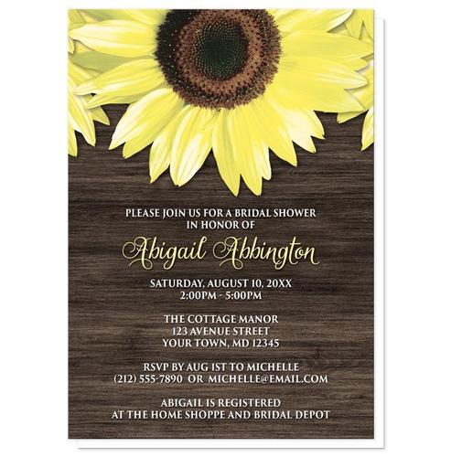 Bridal Shower Invitations - Rustic Sunflower and Wood