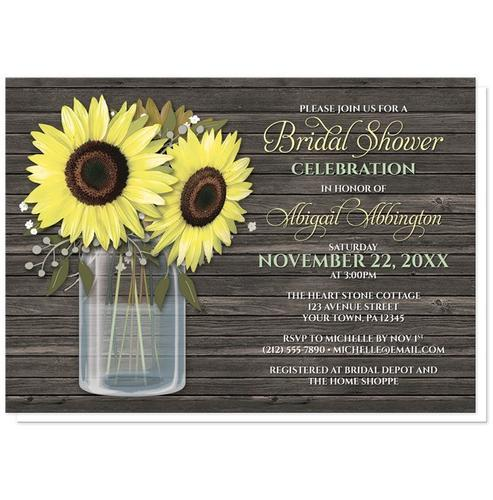 Bridal Shower Invitations - Rustic Sunflower Wood Mason Jar