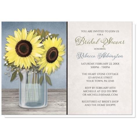 Bridal Shower Invitations - Sunflower Blue Mason Jar Rustic