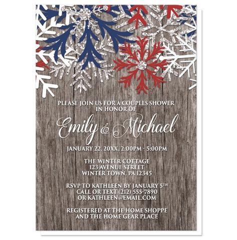 Couples Shower Invitations - Rustic Winter Wood Navy Maroon Snowflake