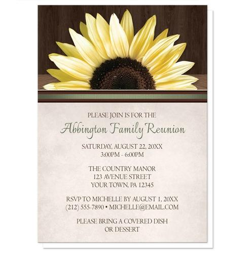 Family Reunion Invitations - Country Sunflower Over Wood Rustic