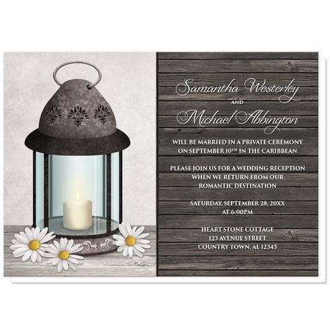 Reception Only Invitations - Rustic Daisy Lantern Wood