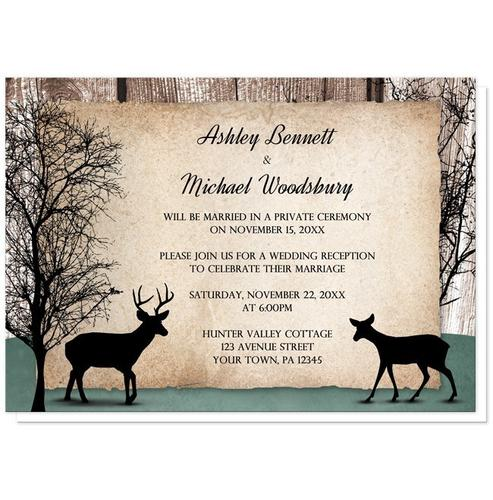 Reception Only Invitations - Rustic Deer Woodsy