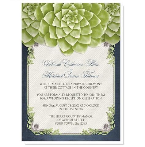 Reception Only Invitations - Rustic Succulent Garden Navy