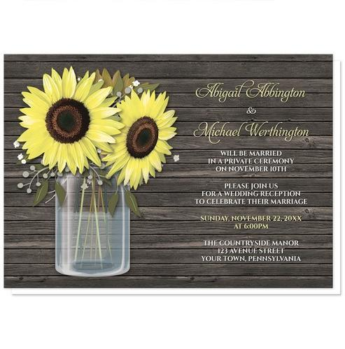 Reception Only Invitations - Rustic Sunflower Wood Mason Jar