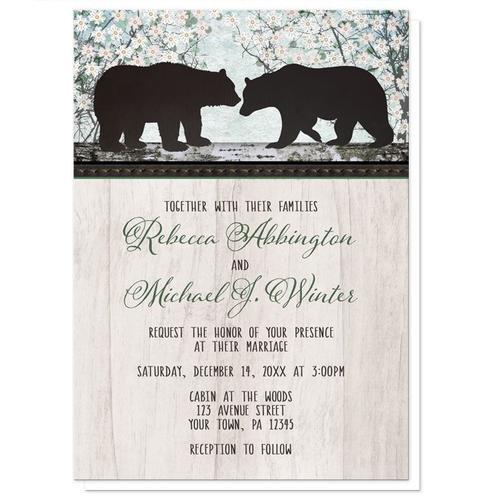 Wedding Invitations - Rustic Bear Spring Floral