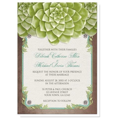 Wedding Invitations - Rustic Succulent Garden