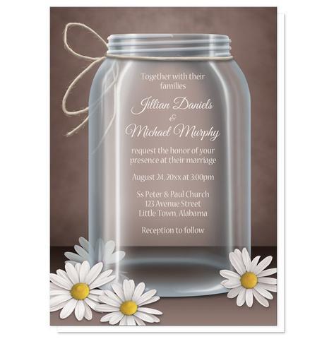 Wedding Invitations - Vintage Rustic Mason Jar Daisy