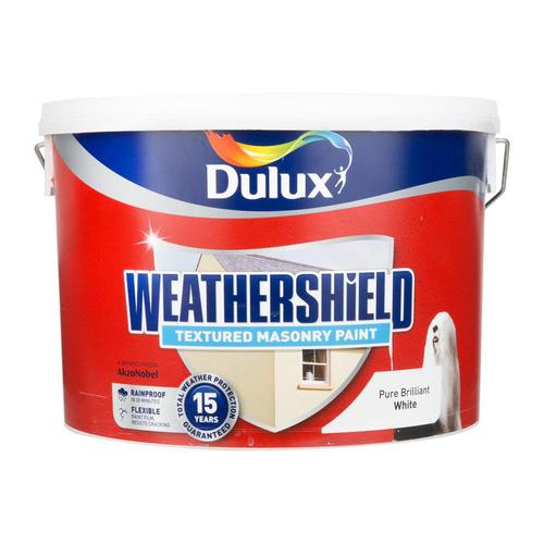 Dulux Weathershield Textured Masonry Paint Quick Dry Brilliant White 10L