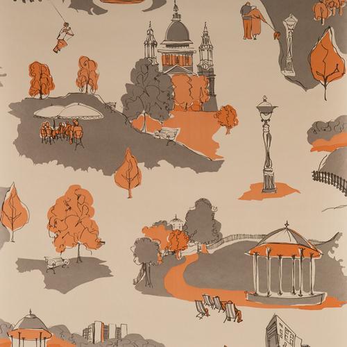 SAMPLE - Blendworth Anthology Wallpaper Roll  Parklife Patterned BL-1005 Orange