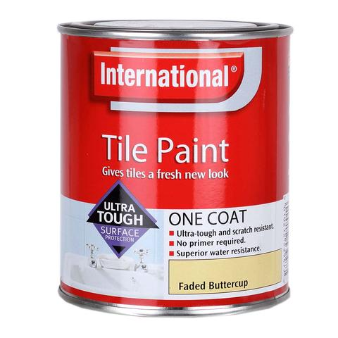 International Waterproof Bathroom Tile Paint - Faded Buttercup - 750ml