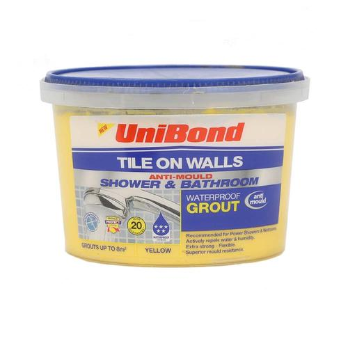 Unibond Waterproof Anti Mould Tile Grout Yellow 1.5kg