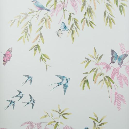 Glitter Halcyon Days Teal Pink Green Wallpaper