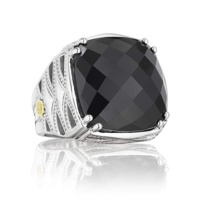 Silver Black Onyx Classic Rock Ring - SR13119
