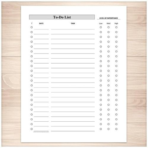 Full Page To-Do List - Level of Importance Column - Printable