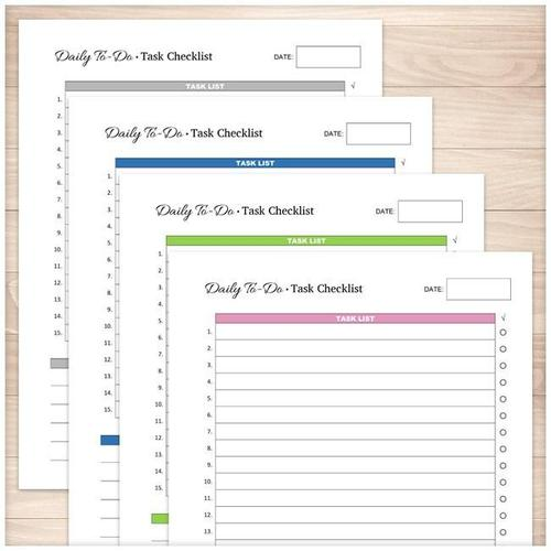Daily To-Do List - Task Checklist BUNDLE in 4 Colors - Printable