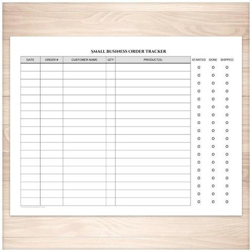 Small Business Order Tracking Page - Order Status Column - Printable
