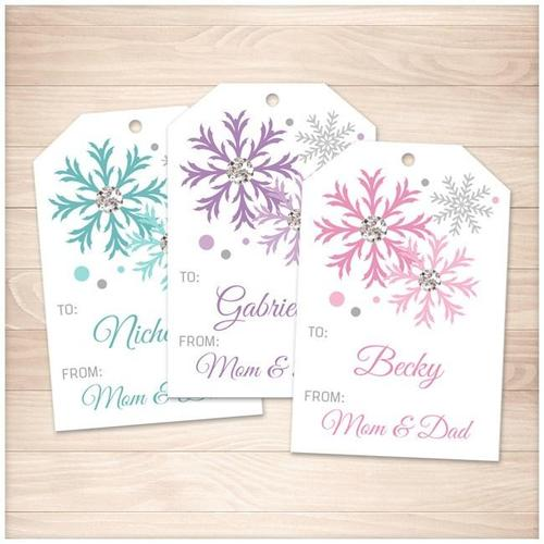 Snowflake Personalized Gift Tags - Turquoise Purple Pink - Printable