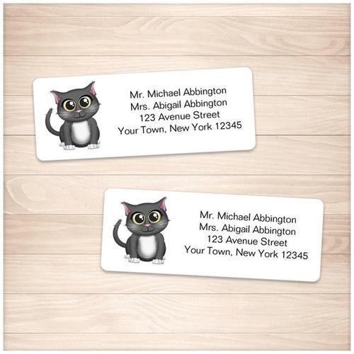 Cute Gray Cat Address Labels - Printable
