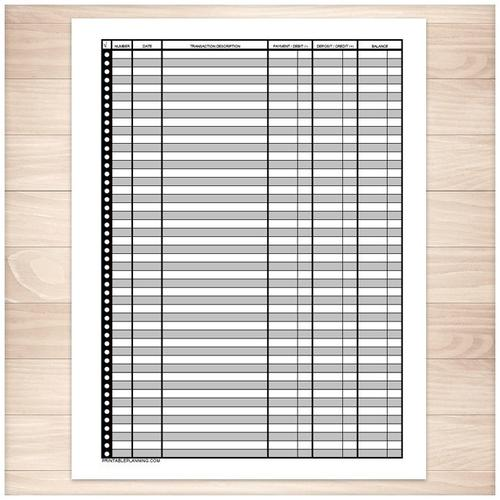 Financial Transaction Register - Full Page - Printable