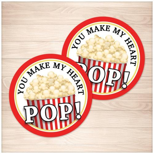 """Popcorn 2"""" Round """"You Make My Heart Pop!"""" Favor Stickers - Printable"""