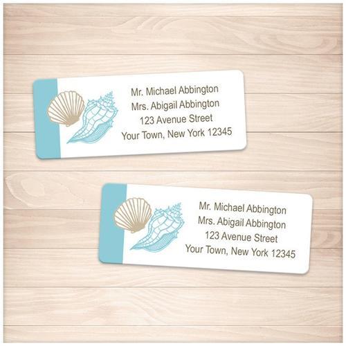 Seashell Turquoise Tan Beach Address Labels - Printable
