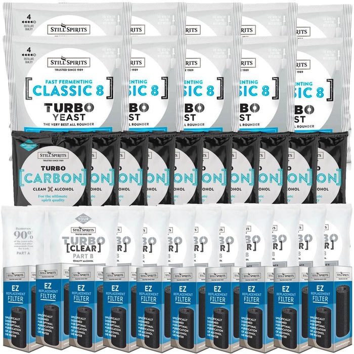 Still Spirits Classic 8 Yeast, Carbon, Clear & EZ Filter 10 Pack