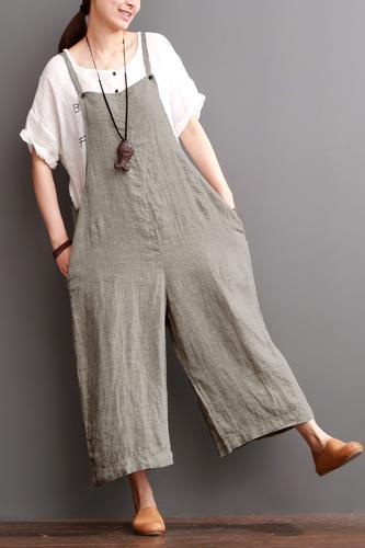 cd54bb2b03f3 Cotton Linen Sen Department Causel Loose Overalls Big Pocket Maxi Size  Trousers Women Clothes