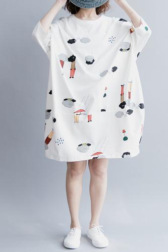 b4cb7f5d694e White Cute Plus Size Cotton Casual Women Shirt Dresses Q9042