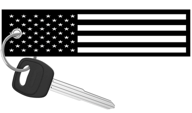 USA Flag Black and White - Motorcycle Keychain