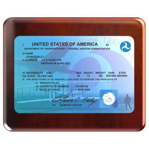 Modern FAA License Plaque (Rosewood)