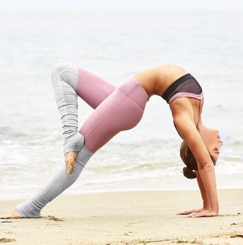 Ribbed Yoga Leggings With Gray