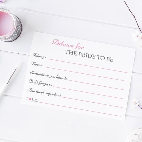 Bridal shower advice cards (set of 5)