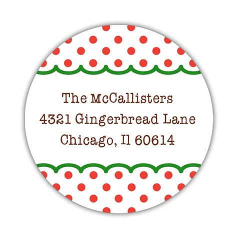 Christmas return address labels 'Gingerbread House'